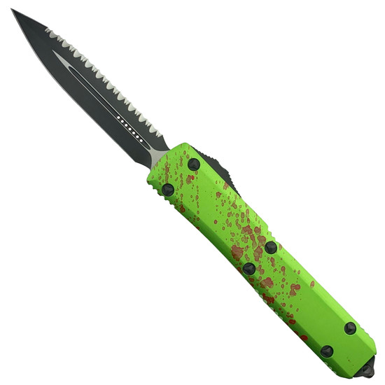 Microtech Zombie Ultratech Dagger OTF Auto Knife, Black Serrated Blade