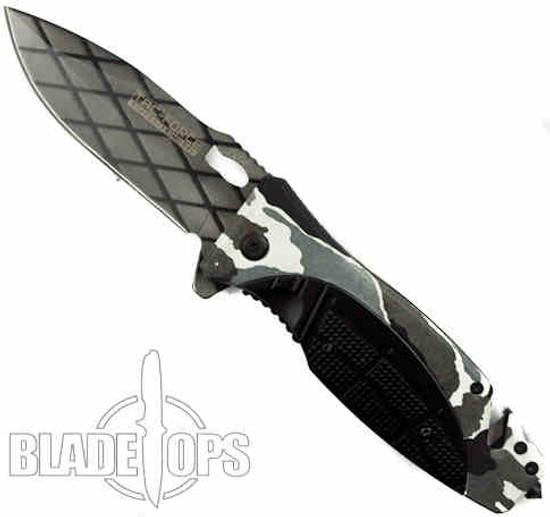 Agitator Snow Camo Spring Assist Knife, Plain Blade