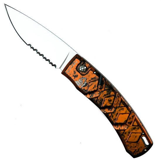 Piranha Orange X Auto Knife, 154CM Mirror Combo Blade