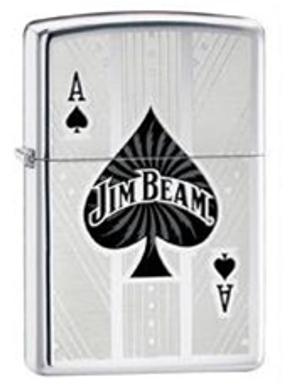 Jim Beam Ace of Spades High Polish Chrome Zippo, 24945