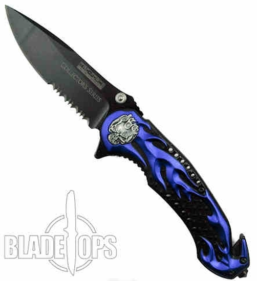 Blue Skull Rider Spring Assist Knife, Tactical Combo Blade