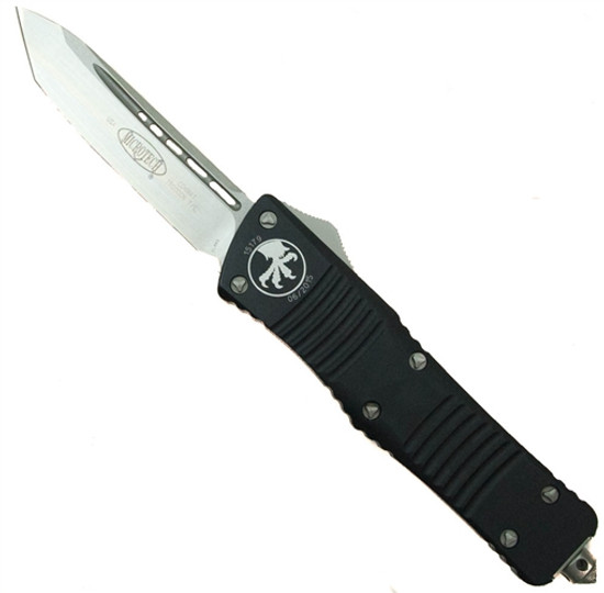 Microtech Combat Troodon Tanto OTF Auto Knife, Stonewash Blade