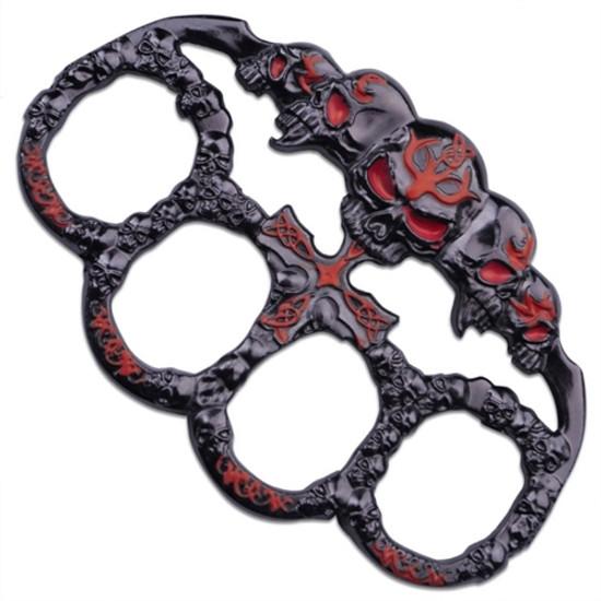 Protekt Knives PK-2445RD Skull Belt Buckle/Paperweight, Black/Red Finish