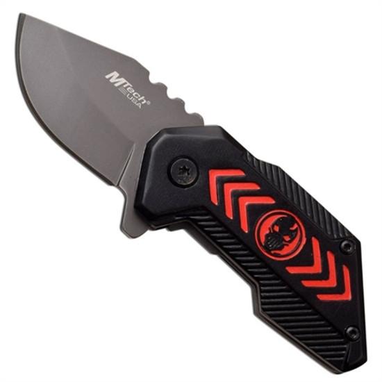MTech USA MT-A1051RD Black/Red Spring Assist Knife, Dark Grey Blade