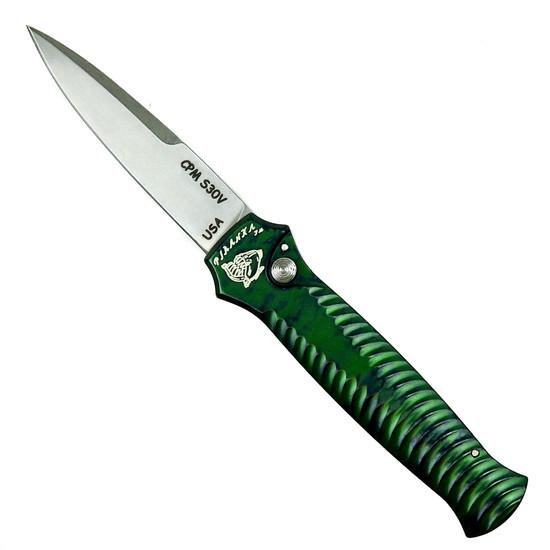 Piranha Green Mini-Guard Auto Knife, CPM-S30V Stonewash Blade