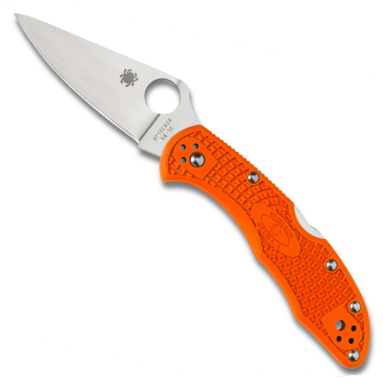 Spyderco Orange Delica 4 Folder Knife, VG-10 Satin Blade