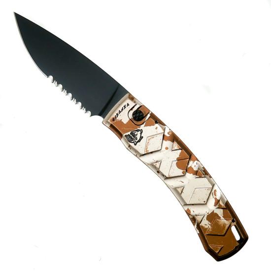 Piranha Desert Camo X Auto Knife, 154CM Black Combo Blade