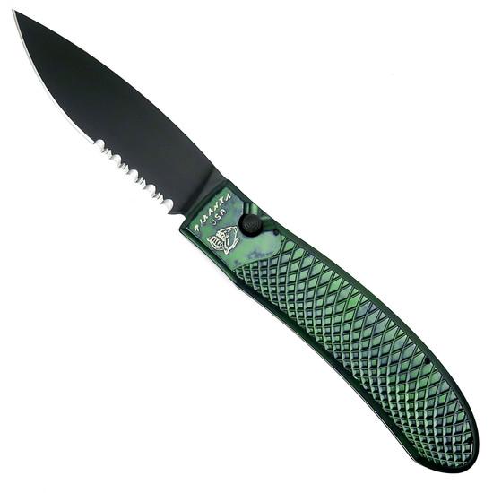 Piranha Green Toxin Auto Knife, 154CM Black Combo Blade
