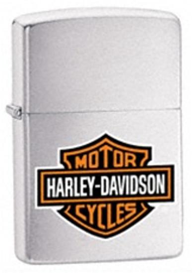 Harley Davidson Brushed Finish Chrome with Bar and Shield Logo Zippo, 200HD.H252