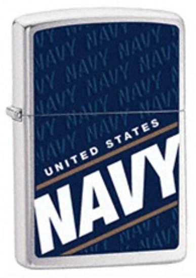 US Navy Brushed Finish Chrome Zippo, 24813