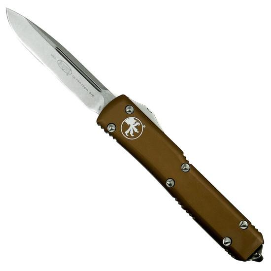 Microtech 121-10TA Tan Contoured Ultratech S/E OTF Auto Knife, Stonewash Blade