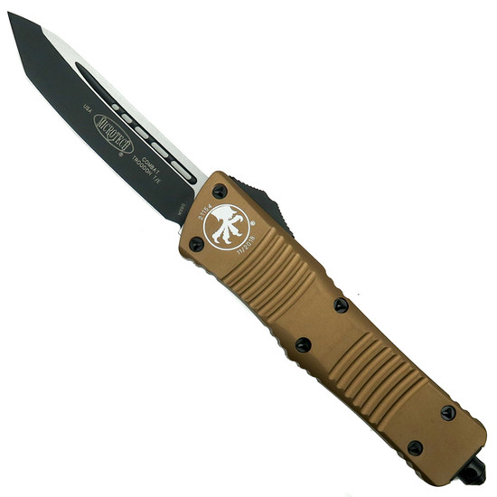 Microtech Tan Combat Troodon Tanto OTF Auto Knife, Black Blade