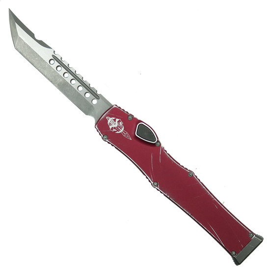 Microtech Distressed Red Halo VI Hellhound OTF Auto Knife, Apocalyptic Stonewash Blade Front View