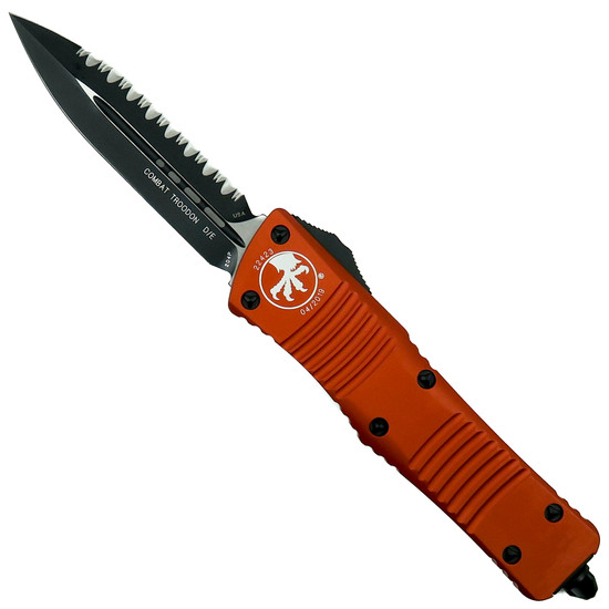 Microtech Orange Combat Troodon Dagger OTF Auto Knife, Black Serrated Blade
