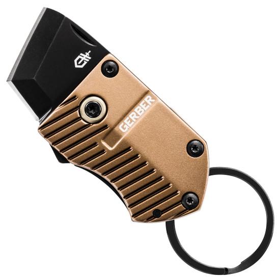 Gerber Coyote Brown Key Note Keychain Folder Knife, Black Blade
