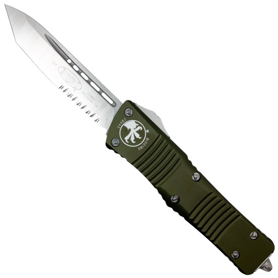 Microtech OD Green Combat Troodon Tanto OTF Auto Knife, Satin Combo Blade
