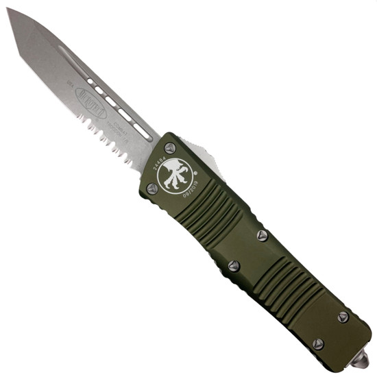 Microtech OD Green Combat Troodon Tanto OTF Auto Knife, Stonewash Combo Blade