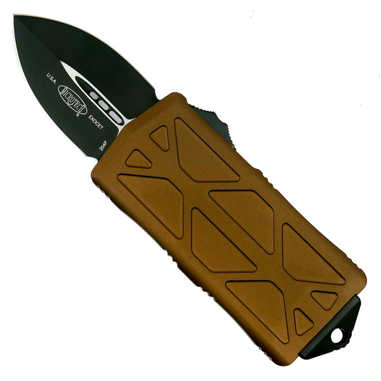 Microtech Tan Exocet OTF Auto Knife, Black Blade