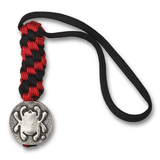 Spyderco Red/Black Paracord Lanyard, Flat Pewter Bead