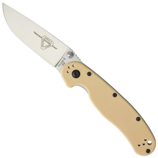 Ontario Desert Tan Rat II Folder Knife, D2 Blade