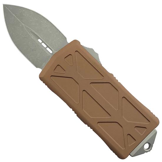 Microtech Tan Exocet OTF Auto Knife, Apocalyptic Stonewash Blade
