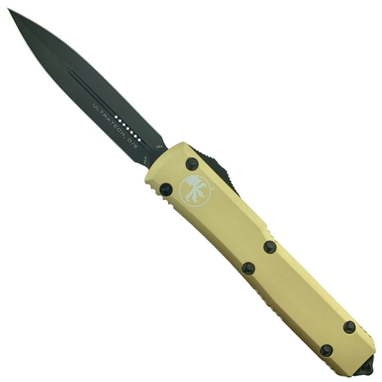 Microtech Champagne Gold Ultratech Dagger OTF Auto Knife, DLC Black Blade