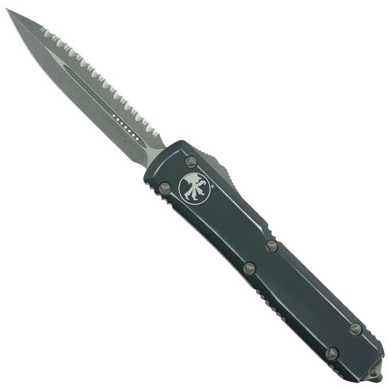 Microtech Distressed Ultratech Dagger OTF Auto Knife, Apocalyptic Stonewash Serrated Blade