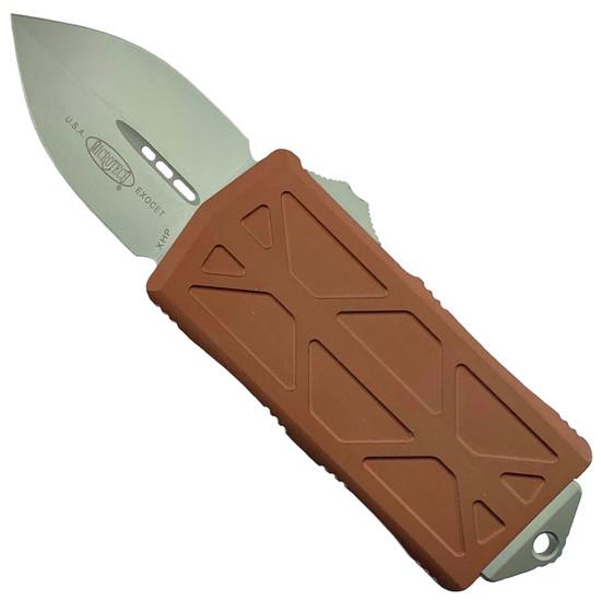 Microtech Tan Exocet OTF Auto Knife, Stonewash Blade