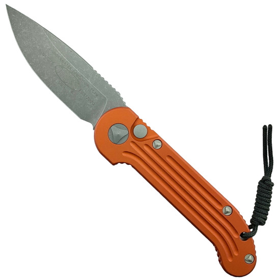 Microtech Orange LUDT Auto Knife, Apocalyptic Stonewash Blade
