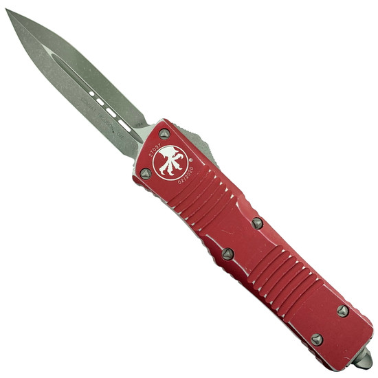 Microtech Distressed Red Combat Troodon Dagger OTF Auto Knife, Apocalyptic Stonewash Blade
