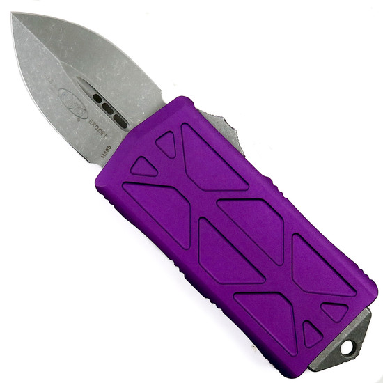 Microtech Violet Exocet OTF Auto Knife, Apocalyptic Stonewash Blade