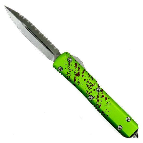 Microtech Zombie Ultratech Dagger OTF Auto Knife, Stonewash Serrated Blade