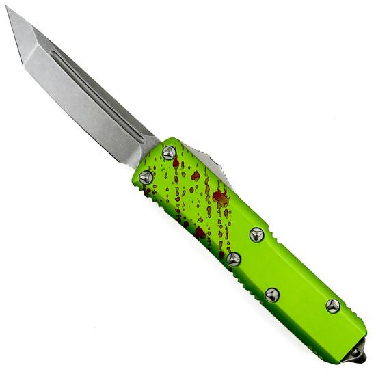 Microtech Zombie Tech UTX-85 OTF Auto Knife, Tanto Stonewash Blade