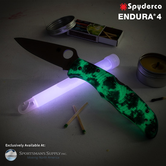 Spyderco Endura 4 Desert ZOME Glow in the Dark Folder Knife, PlainEdge, Glow Shot