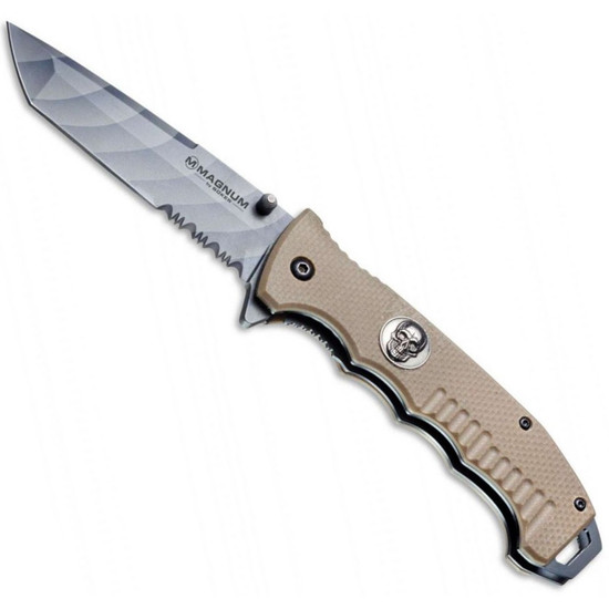 Boker Magnum Shades of Gray Folding Knife, Tanto Combo Blade