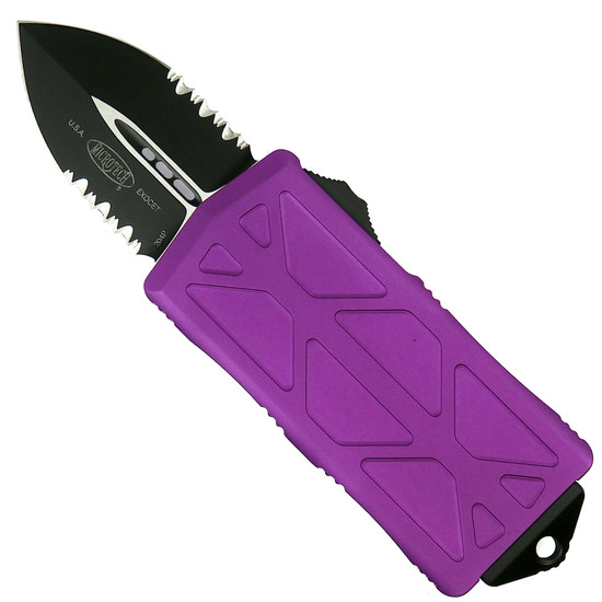 Microtech Violet Exocet OTF Auto Knife, Black Combo Blade