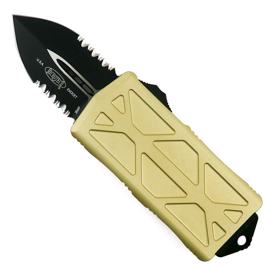 Microtech Champagne Gold Exocet OTF Auto Knife, Black Combo Blade
