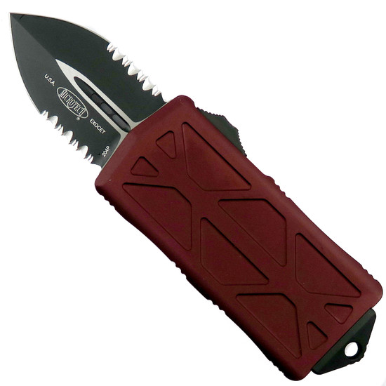 Microtech Merlot Exocet OTF Auto Knife, Black Combo Blade