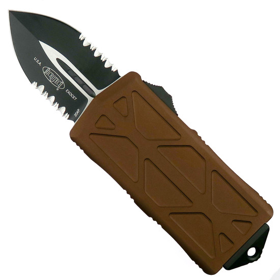 Microtech Tan Exocet OTF Auto Knife, Black Combo Blade