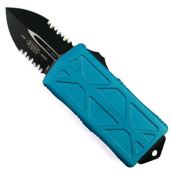 Microtech Turquoise Exocet OTF Auto Knife, Black Combo Blade