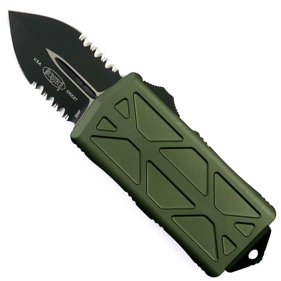 Microtech OD Green Exocet OTF Auto Knife, Black Combo Blade