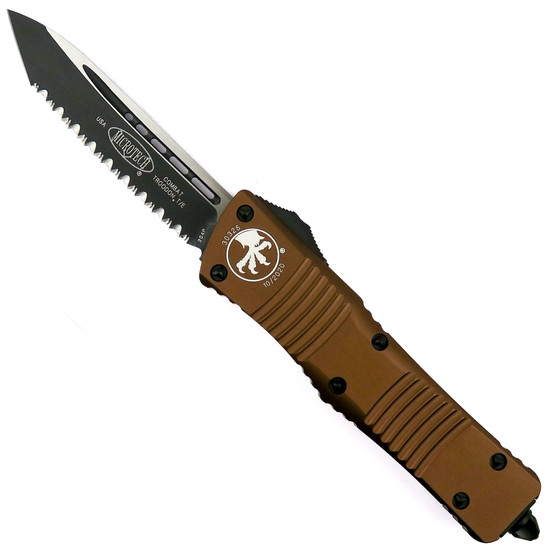 Microtech Tan Combat Troodon OTF Auto Knife, Tanto Black Serrated Blade