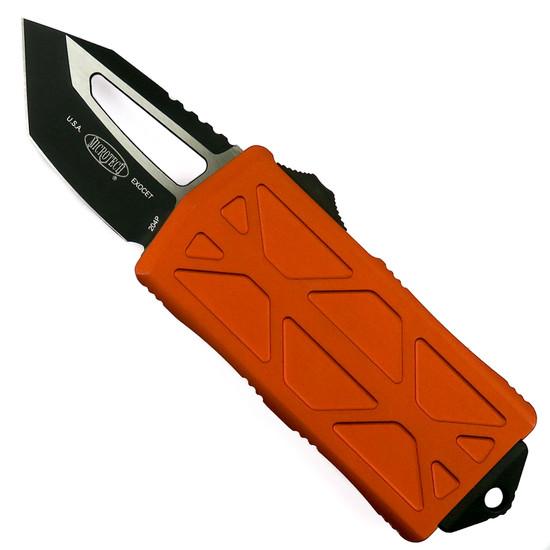 Microtech Orange Exocet OTF Auto Knife, Tanto Black Blade