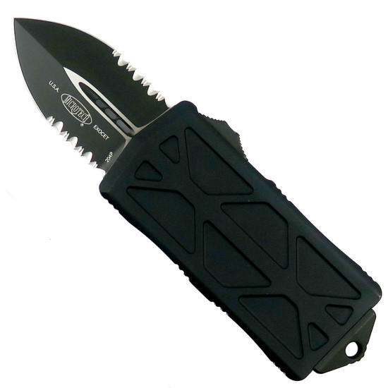 Microtech Tactical Exocet OTF Auto Knife, Black Combo Blade