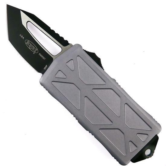 Microtech Gray Exocet OTF Auto Knife, Tanto Black Blade
