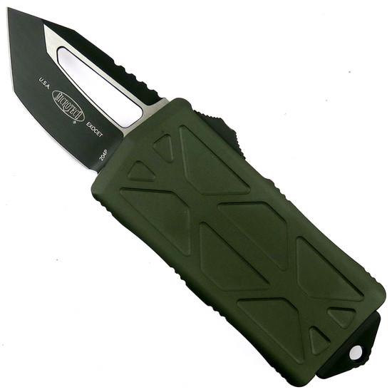 Microtech OD Green Exocet OTF Auto Knife, Tanto Black Blade