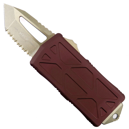 Microtech Merlot Exocet OTF Auto Knife, Bronzed Tanto Fully Serrated Blade