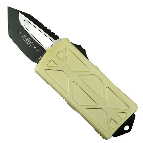 Microtech Champagne Gold Exocet OTF Auto Knife, Tanto Black Blade