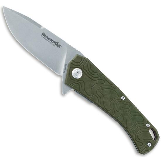 BlackFox Knives BF-746OD Willumsen Flipper Knife,  Stonewash Blade