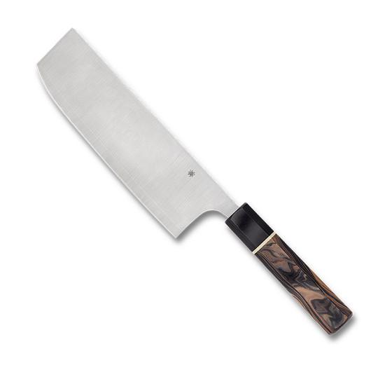 Spyderco Murray Carter Itamae Nakiri Kitchen Knife,  Burl and Black Handle